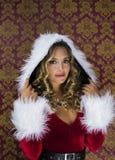 Femme mignonne de Santa Photos stock