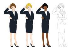Femme mignonne réglée d'affaires pensant pour prendre la décision Pleine illustration de vecteur de corps Image stock