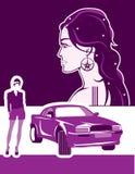 Femme mince et une voiture Image stock
