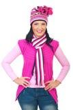 Femme modèle attirante dans des vêtements tricotés roses photos stock
