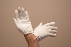 Femme modelant les gants formels de vintage avec de petites boucles Image stock