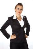 Femme moderne d'affaires avec des mains sur des gratte-culs Photos libres de droits