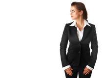 Femme moderne d'affaires d'isolement sur le fond blanc Image libre de droits