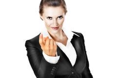 Femme moderne d'affaires passant commande pour venir Photographie stock libre de droits