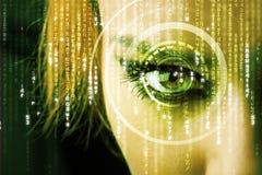 Femme moderne de cyber avec l'oeil de matrice Photos libres de droits