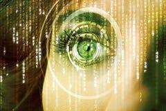Femme moderne de cyber avec l'oeil de matrice photographie stock libre de droits