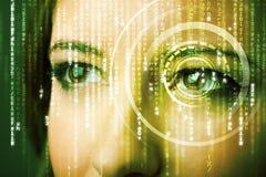 Femme moderne de cyber avec l'oeil de matrice Photo libre de droits