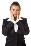Femme moderne frustrante d'affaires Images stock