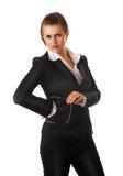 Femme moderne sérieuse d'affaires avec des glaces Photographie stock libre de droits