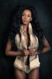 Femme modèle noire d'afro-américain, jeune femelle sexy Image libre de droits