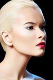 Femme modèle sensuel avec le renivellement de languettes de baie de mode Image stock