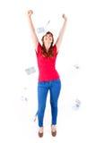 Femme montrant des notes de devise d'euros Image stock