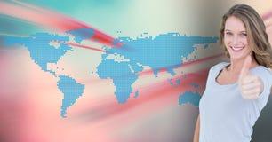 Femme montrant des pouces sur le fond digitalement produit image stock
