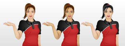 Femme montrant quelque chose/geste d'accueil dans 3 couleurs de peau/cheveux Photo libre de droits