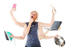 Femme multitâche Image stock