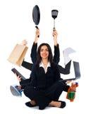 Femme multitâche aimable Photos libres de droits