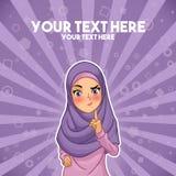 Femme musulmane avec une main augmentée avec le doigt  Photo libre de droits