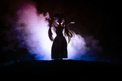 Femme mystérieuse, scène d'horreur de femme effrayante de poupée de fantôme sur le fond bleu-foncé avec de la fumée Photo libre de droits