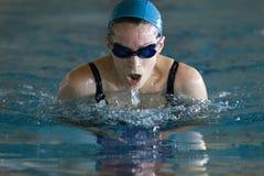 Femme nageant la brasse Image stock