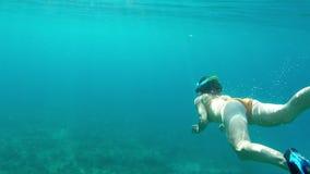 Femme naviguant au schnorchel en mer - mouvement lent Images libres de droits