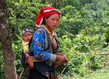 Femme non identifié de Hmong avec la chéri Images stock