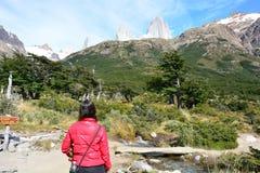 Femme non identifiée se baladant à l'intérieur du parc national de Glaciares, EL Chaltén, Argentine Images libres de droits