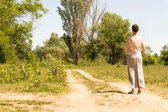 Femme observant aux arbres Photo libre de droits