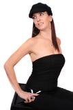 Femme occasionnel avec le chapeau Photo libre de droits