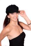 Femme occasionnel avec le chapeau Image libre de droits