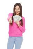 Femme occasionnelle avec dollars US Photos libres de droits