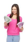 Femme occasionnelle avec dollars US et euro argent liquide Image stock