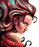 Femme Oracle avec des étincelles dans les yeux illustration de vecteur