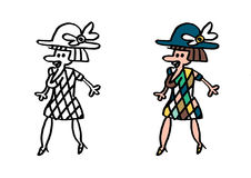 Femme ordinaire dans la robe pie et le chapeau bleu Photo stock