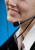 Femme ou secrétaire d'affaires avec l'écouteur Images libres de droits