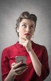 Femme pensant photos libres de droits