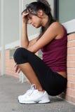 Femme pensante fatiguée Image libre de droits