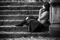 Femme pensif Photographie stock libre de droits