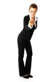 Femme pensif d'affaires passant commande pour venir Photographie stock libre de droits