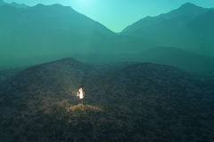 Femme perdu dans le désert image libre de droits