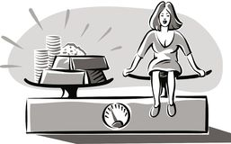 Femme pesant sur un équilibre Images libres de droits
