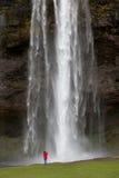 Femme photographiant la cascade à écriture ligne par ligne en Islande Photos libres de droits