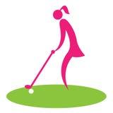 Femme piquant outre du jeu de golf de moyens et du fairway illustration libre de droits