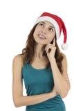 Femme pleine d'espoir de Noël Photographie stock libre de droits