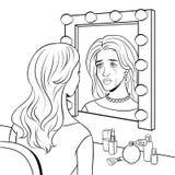 Femme pleurante d'actrice près de vecteur de coloration de miroir illustration libre de droits