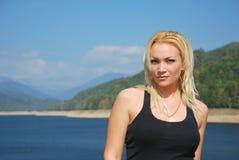 Femme, portait en nature Photo stock