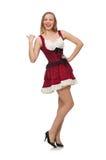 Femme portant la robe rouge dans le concept de mode Images stock