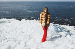 Femme posant à l'horaire d'hiver Photo libre de droits