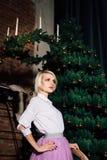 Femme posant dans l'intérieur de nouvelle année Images stock
