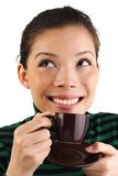 femme potable asiatique de café express Images stock