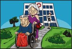 Femme poussant un vieil homme après visite médicale Images libres de droits